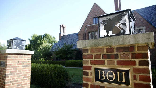 A view of the Beta Theta Pi fraternity house is seen Friday, Sept. 8, 2017, on Penn State's campus in State College, Pa. Alumni of the now-banned Penn State fraternity where a pledge was fatally injured are reopening the house to members as a place to stay during home football game weekends. (Phoebe Sheehan/Centre Daily Times via AP)