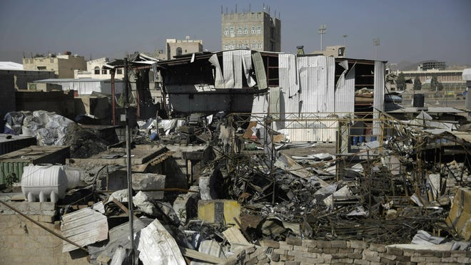 This April 10, 2019, file photo shows a view of the site of an airstrike by Saudi-led coalition in Sanaa, Yemen. President Donald Trump on Tuesday vetoed a bill passed by Congress to end U.S. military assistance in Saudi Arabia's war in Yemen.