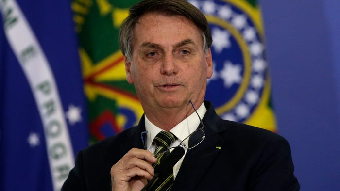 Brazilian President Jair Bolsonaro says he tested positive for the coronavirus