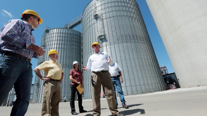 From left, Iowa Secretary of Agriculture Mike Naig; Sen. Tom Greene, R-Burlington; Deb Green, COO of Big River Resources; Jim Leiting, CEO of Big River Resources; and Andy Brader, chairman of the Board of Big River Resources, talk Thursday during a tour of the Big River Resources ethanol plant in West Burlington. Naig was speaking with Big River Resources officials to learn more about how the COVID-19 pandemic has affected ethanol demand and how the plant is responding.