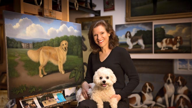 Christine Merrill in her studio with Lilibelle, the Bellefleur Sparkle Plenty.  Lilibelle's great grandfather, Ch. Special Times' Just Right, won Best in Show at Westminster Kennel Club Dog Show in 2001.