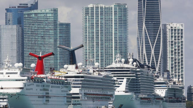 MIAMI -- International and national cruise ships, like those seen here docked at PortMiami amid the coronavirus outbreak, can act as floating hospitals.