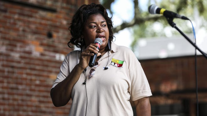 Diyonne McGraw gives a speech during a get-out-the-vote rally at Bo Diddley Community Plaza in downtown Gainesville in 2016.