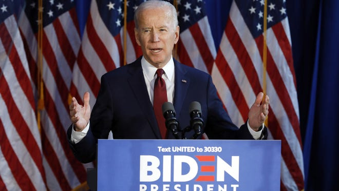 In this Tuesday, Jan. 7, 2020 file photograph, presumptive Democratic presidential nominee Joe Biden gestures during a foreign policy statement in New York.
