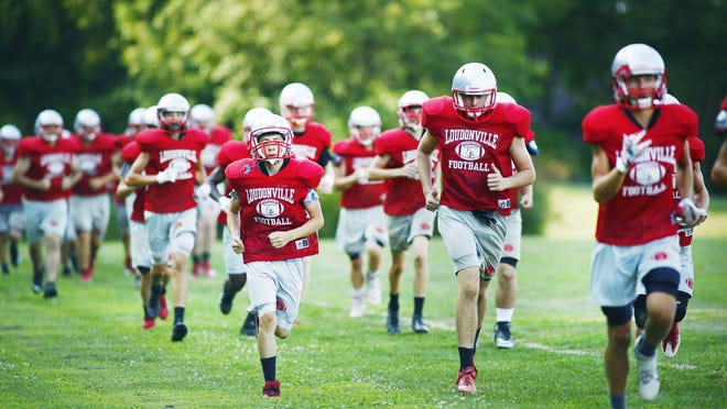 Loudonville football players run drills during their practice on Friday at Loudonville High School.