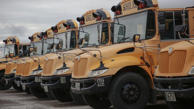 Columbus City school buses parked on Tuesday, August 13, 2019 at the Moler Transporation Services Center in Columbus, Ohio.