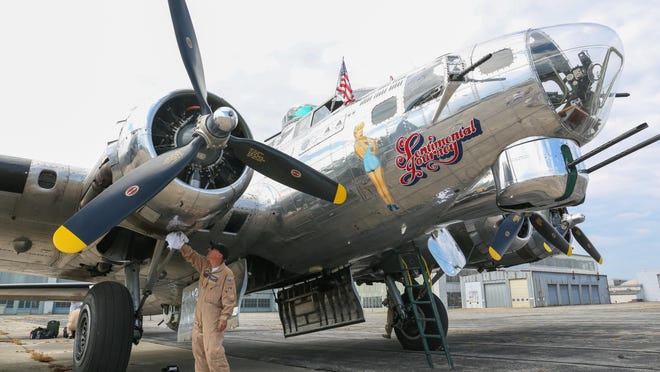 "The B-17G Flying Fortress named ""Sentimental Journey,"" is pictured here during its tour stop in Hagerstown, Maryland Monday. JOHN IRWIN/ THE RECORD HERALD"