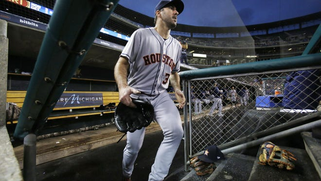 Houston Astros starting pitcher Justin Verlander, shown during a 2018 game against the Detroit Tigers, may be lost for the season with an injury. Manager Dusty Baker said the ace would for sure be out a couple of weeks.