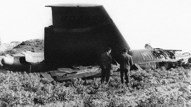 Part of the wreckage of the U.S. Air Force B-52 that crashed in 1966 in Palomares, Spain, after a mid-air collision with a KC-135 aerial tanker during refueling.