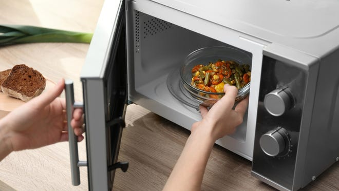 Use glass, ceramic and only plastic containers that are labeled for cooking in a microwave.