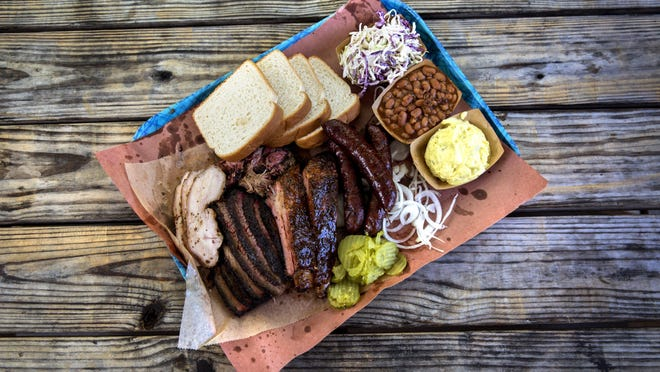 A tray of smoked meats from Franklin Barbecue.