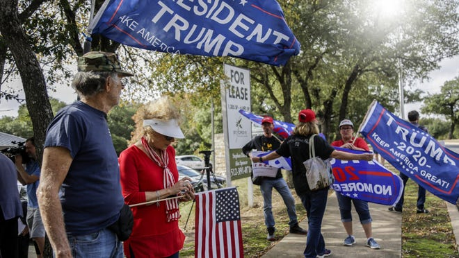 Supporters of President Donald Trump gathered near Flextronics International in Austin ahead of the president's appearance there on November 20 in 2019.