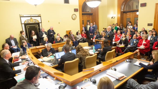 Legislators hear testimony during a hearing in January. A $3 million technology upgrade approved Thursday will ensure committee hearings can be viewed remotely.