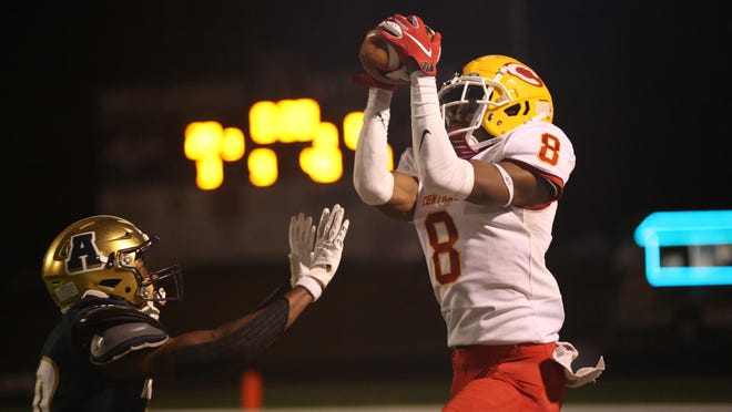 Clarke Central's Douglas Clark Jr  (8) makes an interception during a GHSA football game at Apalachee High School in Winder, Georgia, on Friday, Oct. 2, 2020. Clarke Central won 28-0.