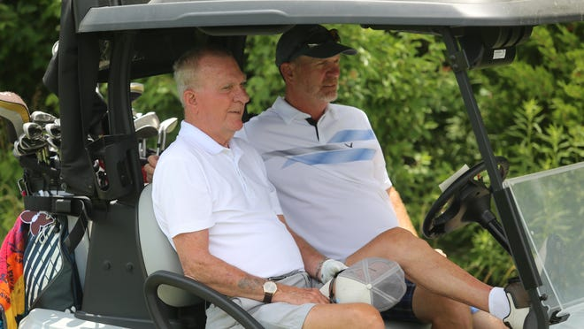 Virgil Waldo (left) and John Waldo have competed in the TGA City Champions Two-Person Scramble ever since John turned 50 four years ago. Virgil, who will turn 89 next week, took up the sport when he was 12 but never competed in a TGA event until teaming with John for the Champions event.