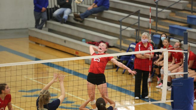 Wamego's Kenzie Cooper goes up for a kill during Saturday's Class 4A sub-state semifinal against Hayden at Holton. Cooper led the Red Raiders to a three-set win over Hayden and Wamego downed Holton in three sets in the finals to win the sub-state title.