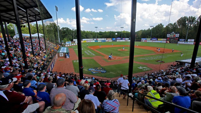 Baseball fans fill the stands for the American Legion World Series.