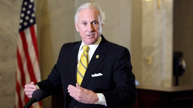 South Carolina Gov. Henry McMaster talks about vaccine distribution and abortion during a news conference Wednesday in Columbia, S.C.