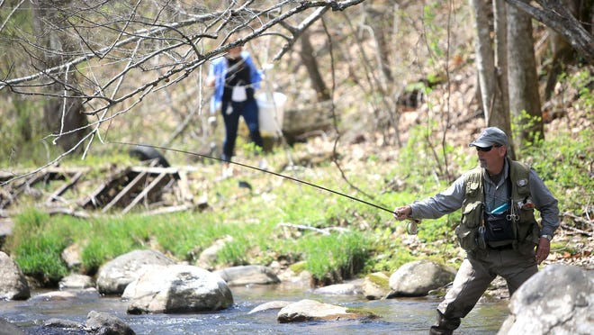"""Fishermen from across the U.S. gathered along Little Rock Creek in Bakersville on Sunday afternoon for the third day of """"Casting for Hope"""" — a Trout Legend Gold certified fly fishing competition in its fourth year held to raise money for women battling ovarian and other gynecological cancers."""