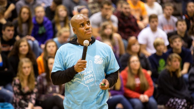 """Keenan West brings his Secret Mean Stinks Nicest Tour Ever to Waynesville High School earlier this month. West's efforts focus on the bystander to bullying who, West tells students, is key because he or she has the power to lend support to victims and challenge the actions of bullies. The tour's goal, West says, is to """"see what it would look like to end mean."""""""