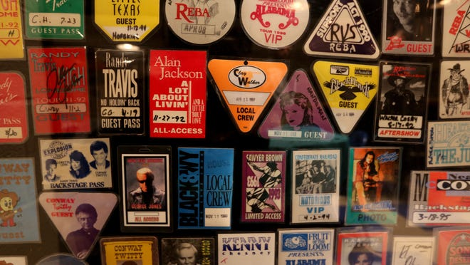 Access passes from concerts at Cincinnati Gardens that is displayed at the Legends Musuem at Cincinnati Gardens. Photo shot Tuesday January 20, 2015. The Enquirer/ Cara Owsley.