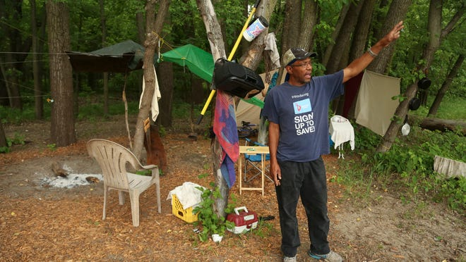 Frederick Harris, 53, lives near Euclid Avenue along the Des Moines River. He does odd jobs and says he'd rather live in an apartment. However, Harris likes his current setup and enjoys being close to the river.