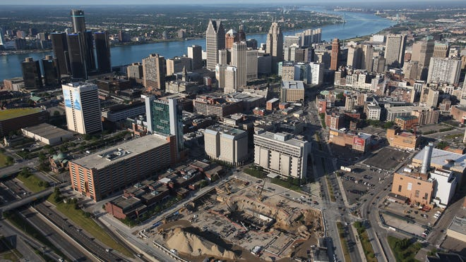 This aerial view of downtown Detroit from June 2012 shows the site of the stalled Wayne County Jail project.