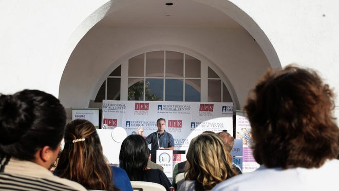 Peter V. Lee, head of California's health insurance exchange Covered California, speaks at an open enrollment kickoff event hosted by Desert Regional Medical Center on Wednesday.
