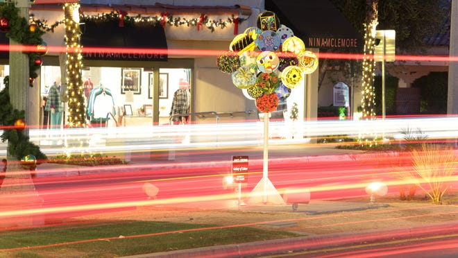 """""""Galaxy of Colors"""" by Janice Osborne of La Quinta graces the median on El Paseo, between Ocotillo Drive and Sage Lane, in Palm Desert. The sculpture is part of the 2015-16 El Paseo Invitiational Exhibition."""