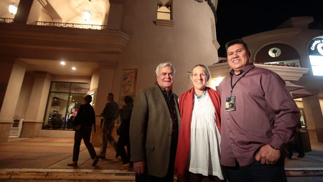 """(From the left) Michael Hammond, Ph.D. the executive director of the Agua Caliente Cultural Museum, Elizabeth Weatherford the guest programmer for the 2015 Native FilmFest and Agua Caliente tribal councilman Anthony Andreas III pose for a photos before a screening of """"Drunktown's Finest"""" on Wednesday at the Camelot Theatres in Palm Springs."""