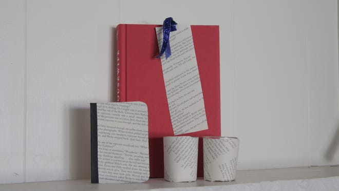 Use book pages to decorate bookmarks, notebooks and glass votives.