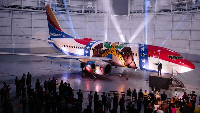 Southwest Airlines unveiled the Missouri One, a Boeing 737-700, on Wednesday in Kansas City.