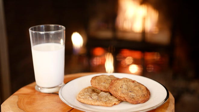 Cookies for the young: Classic chocolate chip cookies and milk.