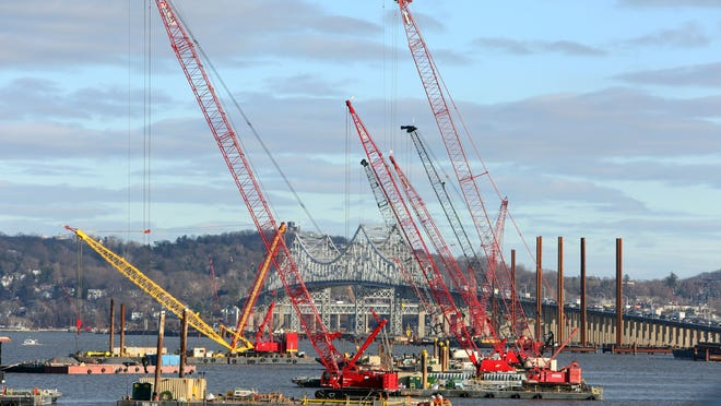 A view of construction underway at the Tappan Zee Bridge from the bank of the Hudson in Nyack on Monday.