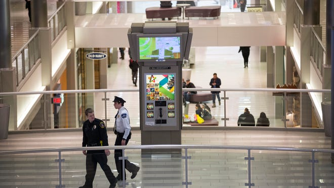 Mall of America security and a Bloomington police officer patrolled the mall on Monday in Bloomington, Minn. Shoppers at the Mall of America seem undeterred after hearing about a video purportedly made by al-Qaida-linked rebels that urges attacks on shopping malls. The video specifically mentions the Bloomington shopping mall.