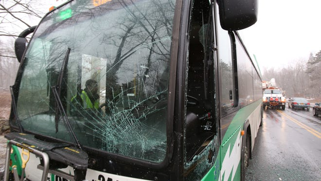A Rockland TOR bus collided with a car on College Rd. near Rockland Community College March 20, 2015. Two people suffered minor injuries, and another bus was sent to pick up the passengers on the damaged bus.