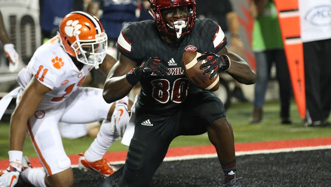 Louisville's Charles Standberry celebrates after scoring in the first half.September 16, 2017