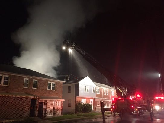 Crews fight a fire in the 500 block of Susquehanna