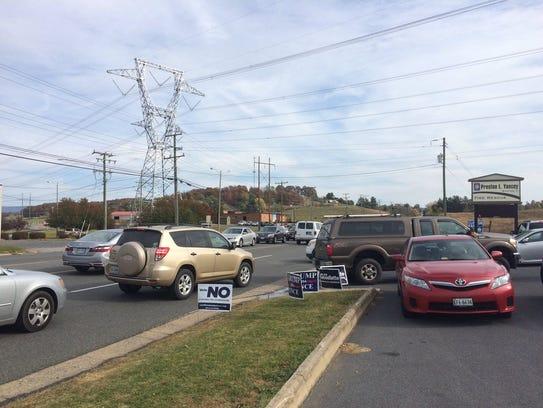 Traffic snarling up outside Preston Yancey polling