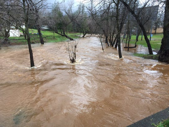 A creek off Twin View Boulevard in north Redding has