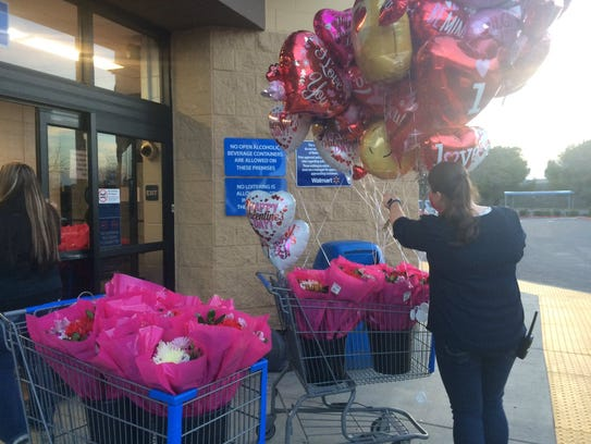 Walmart employees in Oroville handed out Valentine's