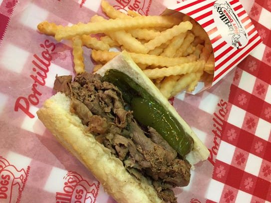 Portillo's is famous for its Italian beef sandwich.