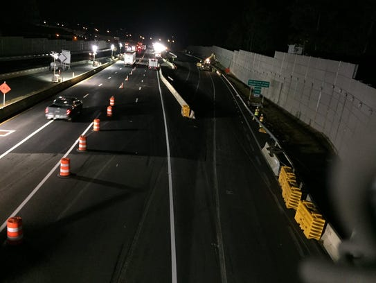 Another stripe is added to the Westchester-bound lanes