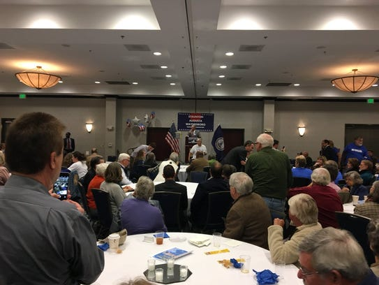 A crowd gathers in Waynesboro to hear Ralph Northam