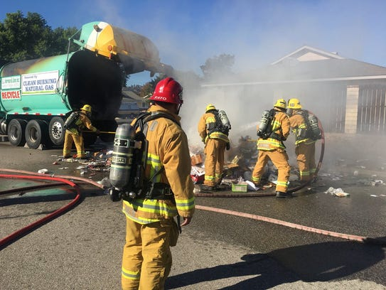 Ventura County fire crews put out a fire in the back