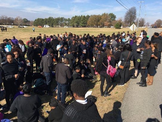 Haywood High School participate in a protest on Monday,