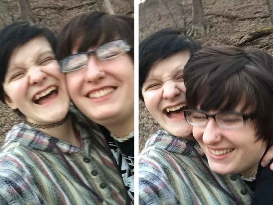 Min Olson, left, takes selfies with her friend Megan Eisold. Eisold died by suicide when she was 16.