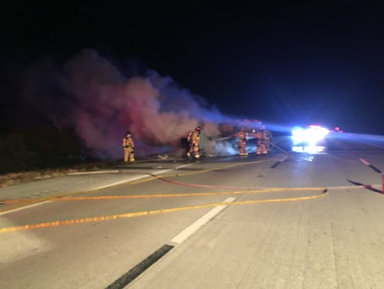 A heavily involved tractor-trailer fire was reported