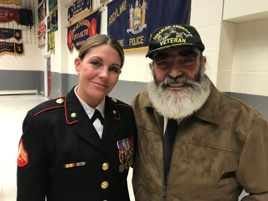"""Former Marine Cpl Megan Leavey and Vietnam veteran Jeremy Honey are among the mourners gathering for the funeral for Jerry Donnellan, March 29, 2018. Leavey, focus of a Hollywood film, credited Donnellan, Rockland County's commissioner of veterans affairs for 26 years, with helping her get her Marine service dog returned to her. """"Jerry was the first to speak up,"""" Leavey said."""