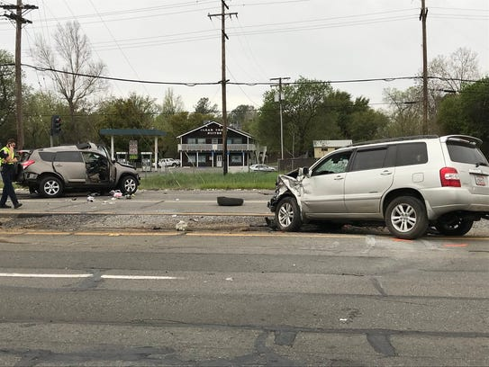 Redding police investigate a fatal collision at Girvan Road and Highway 273 in south Redding earlier this month. A driver in a stolen car ran a stoplight, hit another car, killing a woman. The driver then left the scene.